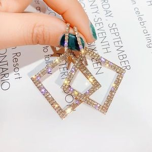 Gold Rhinestone Statement Earrings